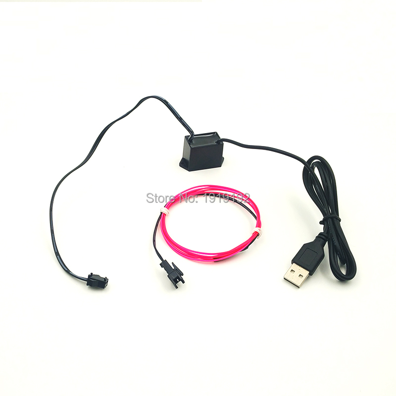 1.3mm 2M Wholesale Car Flexible Neon Light EL Wire Powered by USB For Channel Signage Sign Party Festival Wedding Decoration