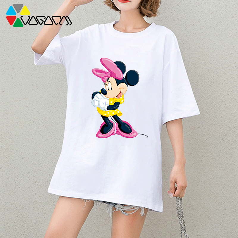 2019 Mickey Mouse Tee Women Summer Fashion Short Sleeve Cute Cartoon Print Black White T Shirts Club amp party Oversize Tops in T Shirts from Women 39 s Clothing