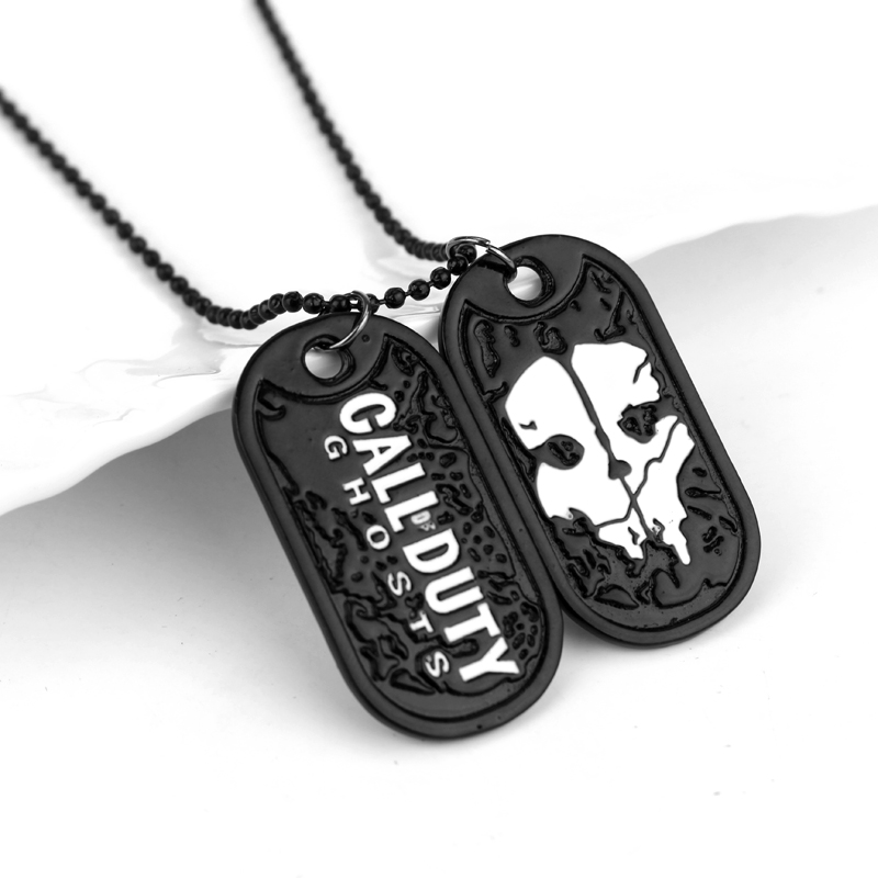 Wholesale Hot Dog Tag Call Duty Ghosts Necklace Pendant Ghosts Cosplay Titanium Steel Dog Tag Necklace Men Cosplay Gift