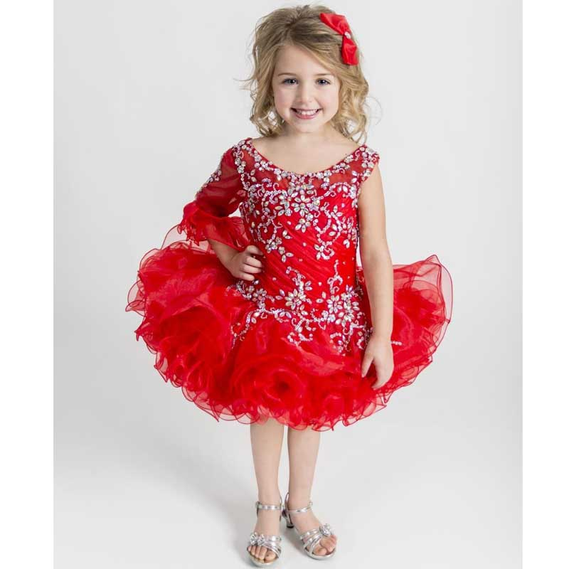 New Glitz Pageant Dresses for Girls Toddler Off shoulder Red Organza ...