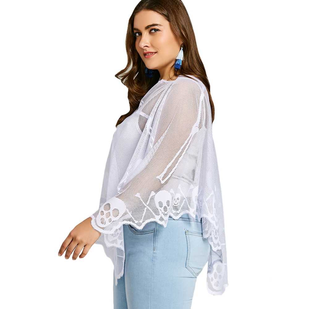 61e3a08d860 ... 2018 Women Sexy Cover Up blouse Plus Size Skeleton Lace See Through  Long Batwing Casual Poncho ...