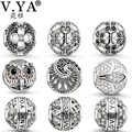 V YA Owl/ Lotus Mix Charm Bead fit for Pandora Necklaces Bracelets Chain DIY Jewelry for Women Men Gifts Family Jewlery