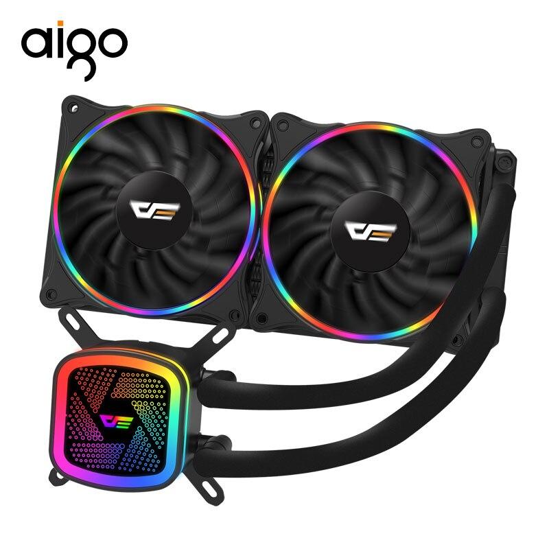 AIGO refroidisseur d'eau DT240 à refroidissement par eau avec RGB 120mm 240mm 4pin PWM ventilateur de refroidissement CPU pour tous les ventilateurs de jeu Inetel et AMD