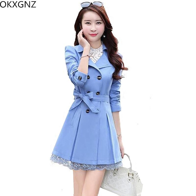 OKXGNZ Women   Trench   Coat 2017 Spring/Autumn New Han Edition Costume Coat Lace Edge Windbreaker Plus Size Women Basic Coats AH046