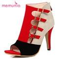 MEMUNIA 2017 Большой размер 33-43 смешанные цвета туфли на каблуках партия пряжка молния сандалии женщин летняя обувь мода элегантный