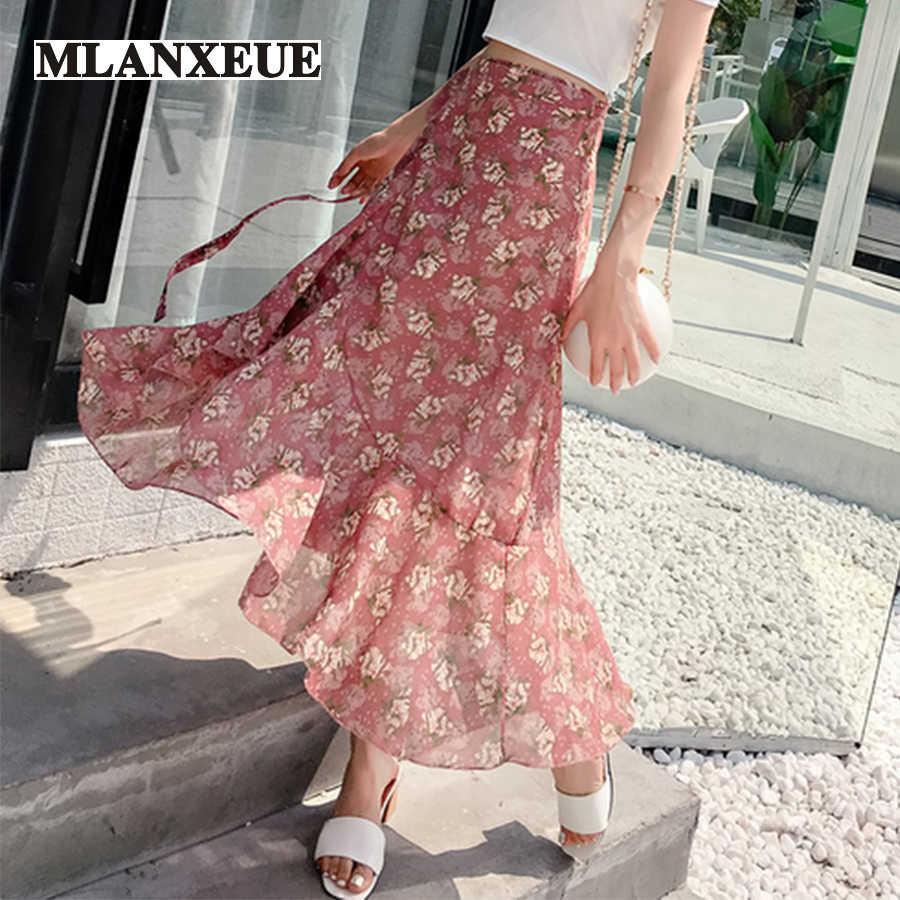 83d01dfe988a Diverse Print Straight Irregular Sashes Fishtail Skirt Women Skirts Lace-Up  Soft Beach Skirt Woman