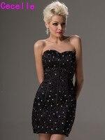 Маленькие черные коктейльные платья, украшенные бисером, 2019 Короткие мини платья для выпускного вечера, милые облегающие вечерние платья д