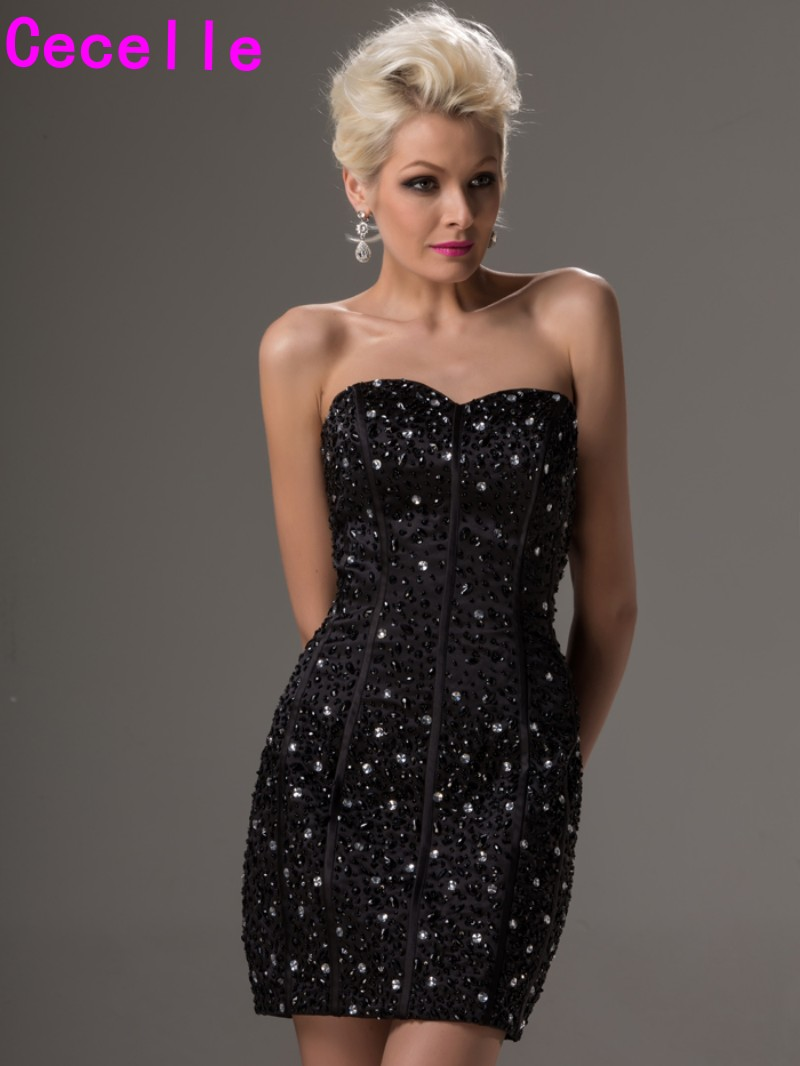Heavily beaded little black cocktail dresses 2017 short mini prom heavily beaded little black cocktail dresses 2017 short mini prom dresses sweetheart tight fitted girls party dresses custom in cocktail dresses from ombrellifo Gallery