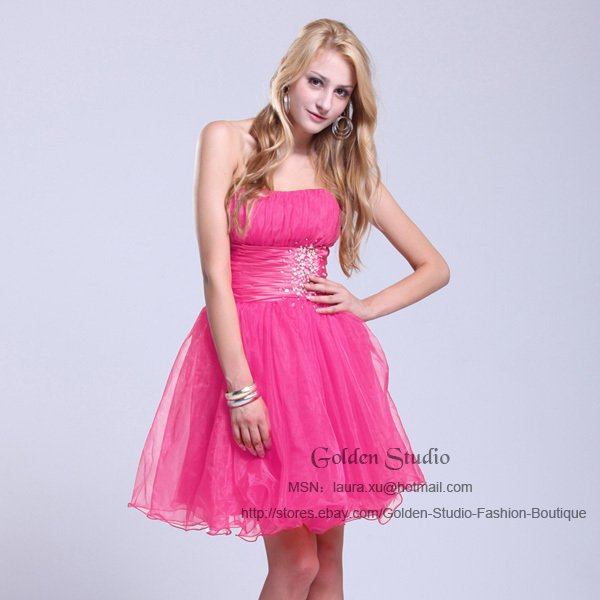 new pink Short Mini Cocktail Party Evening Dress Prom Ball Gowns ...