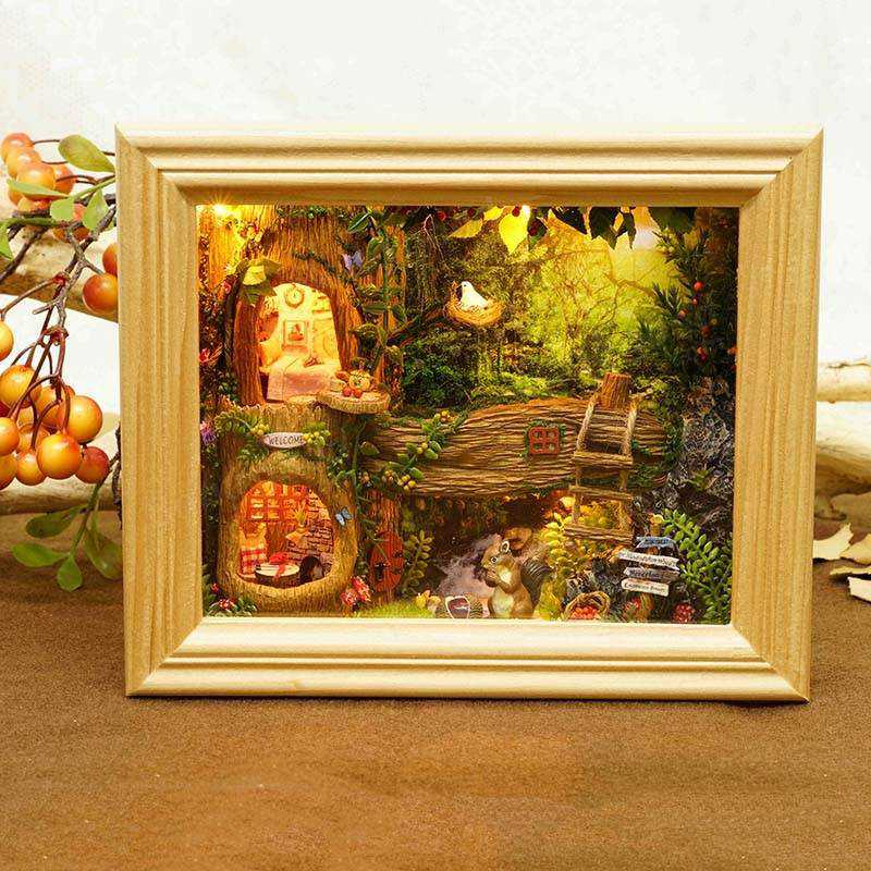 Handmade Kit Photo Frame Design Nut 39 s Station DIY Wooden Dollhouse Decoration Collection Best Gift Toys For Children Girls in Doll Houses from Toys amp Hobbies