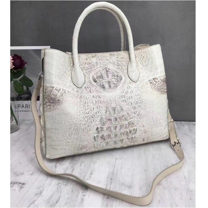 Fashion Solid Color Designer Genuine Crocodile Leather Ladies Large Totes bag Alligator Skin Women's Top handle Shoulder Bag