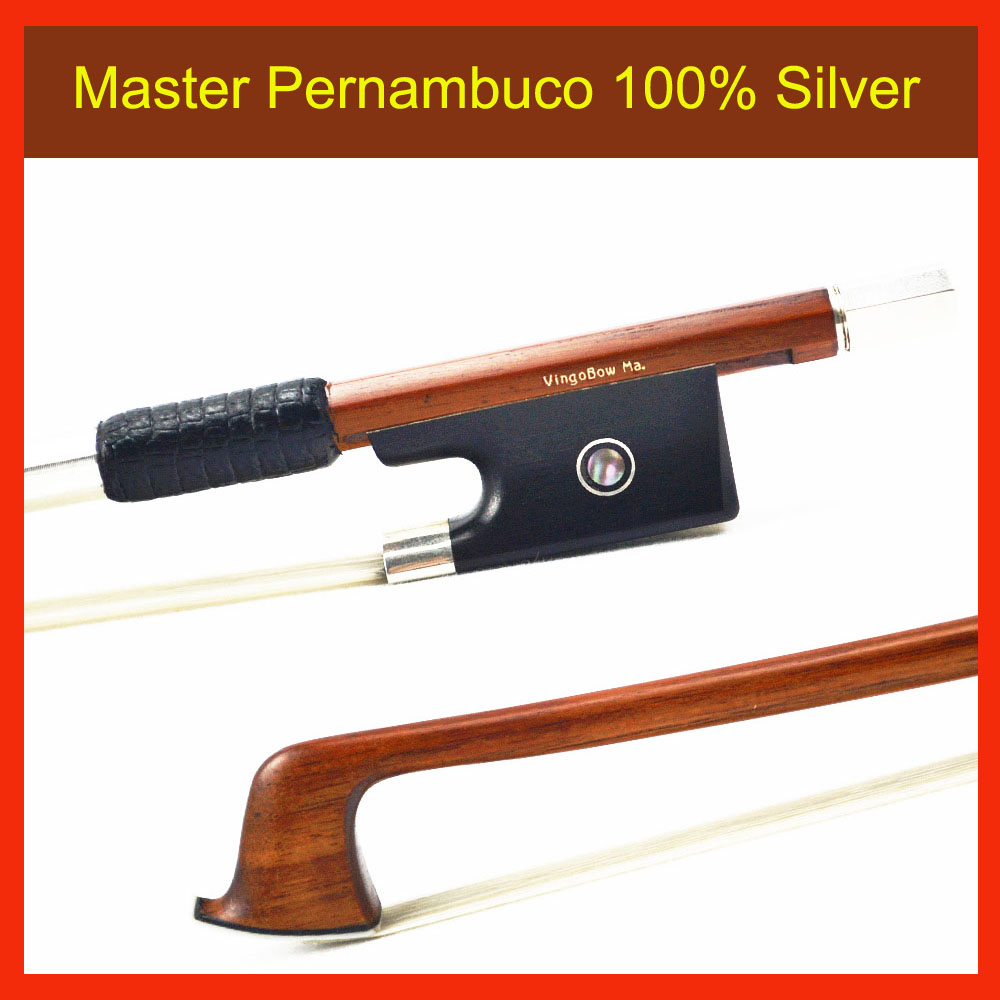 870V 4/4 Size Master Pernambuco VIOLIN BOW Ebony Frog with 100% Silver Natural White Hor ...