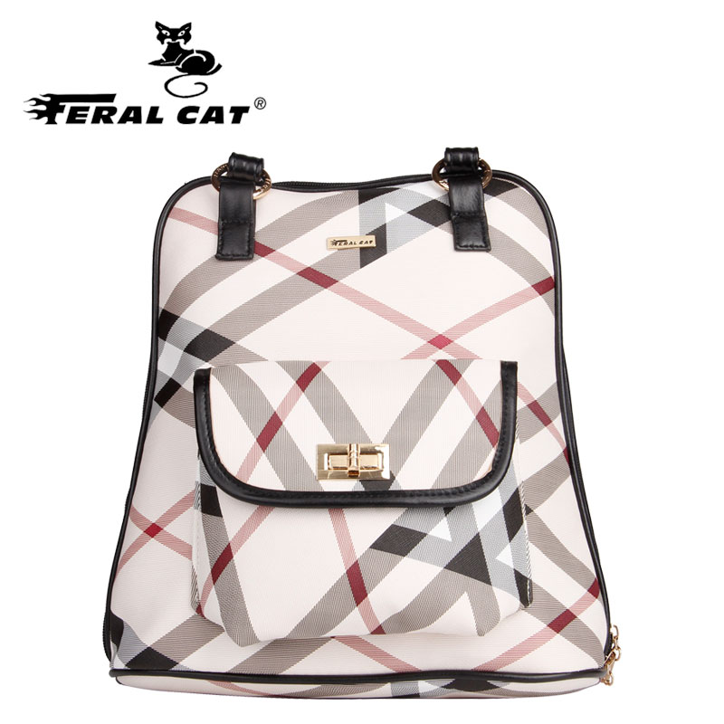 2017 FERAL CAT classic grid style fashion backpack all matching students large capacity the goddess of exclusive girl's leather the construction of online automated students matching system