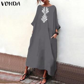 6834e1ca0df0792 VONDA женское платье с цветочным принтом 2019 осеннее сексуальное с круглым  вырезом 3/4 рукав летучая мышь вечерние длинные свободное платье .