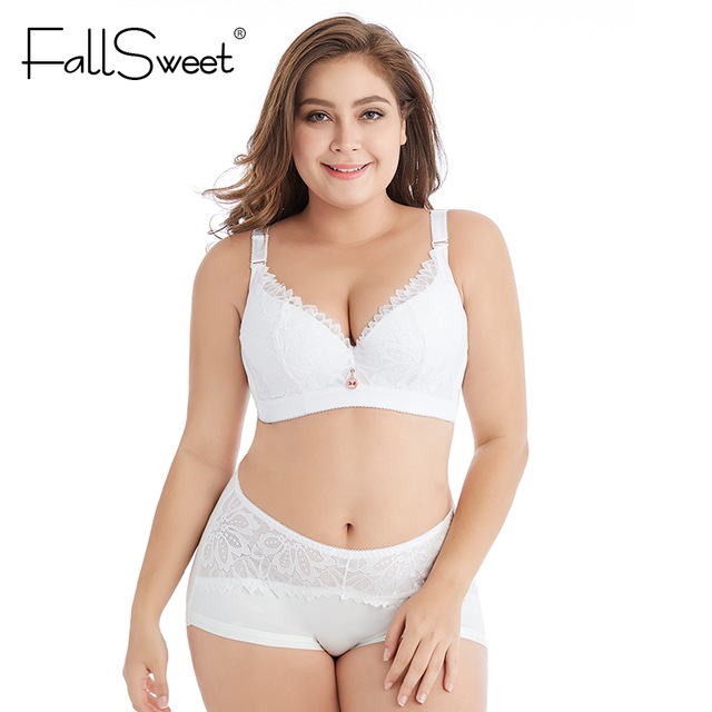 71b8c169c FallSweet Plus Size Lingerie Set Women Bras and Briefs Sets Push Up D DD  Cup Underwear Sets 44 46 48