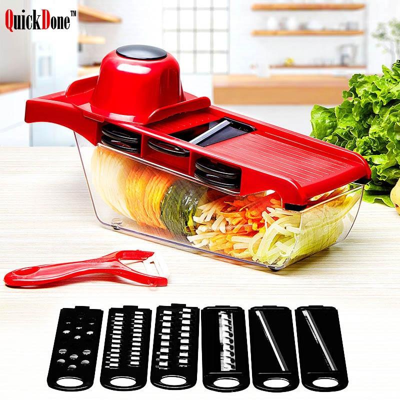 QuickDone creativo mandolina Slicer cortador de verduras con hoja de acero inoxidable Manual pelador rallador zanahoria cortador de AKC6035