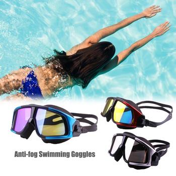 Gogle pływackie okulary dla dorosłych okulary pływackie poszycia Anti-fog szerokie ramki gogle pływackie szkło pc okulary pływackie tanie i dobre opinie WOMEN 220 * 60 * 40mm MULTI Pływać Akrylowe Silikonowe Swim Goggles