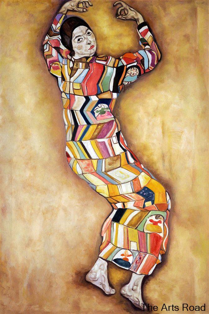 Abstraite Portrait Peinture Frederike Bière, 1914 Egon Schiele Peinture Murale Main-made Vertical Pas Encadrée