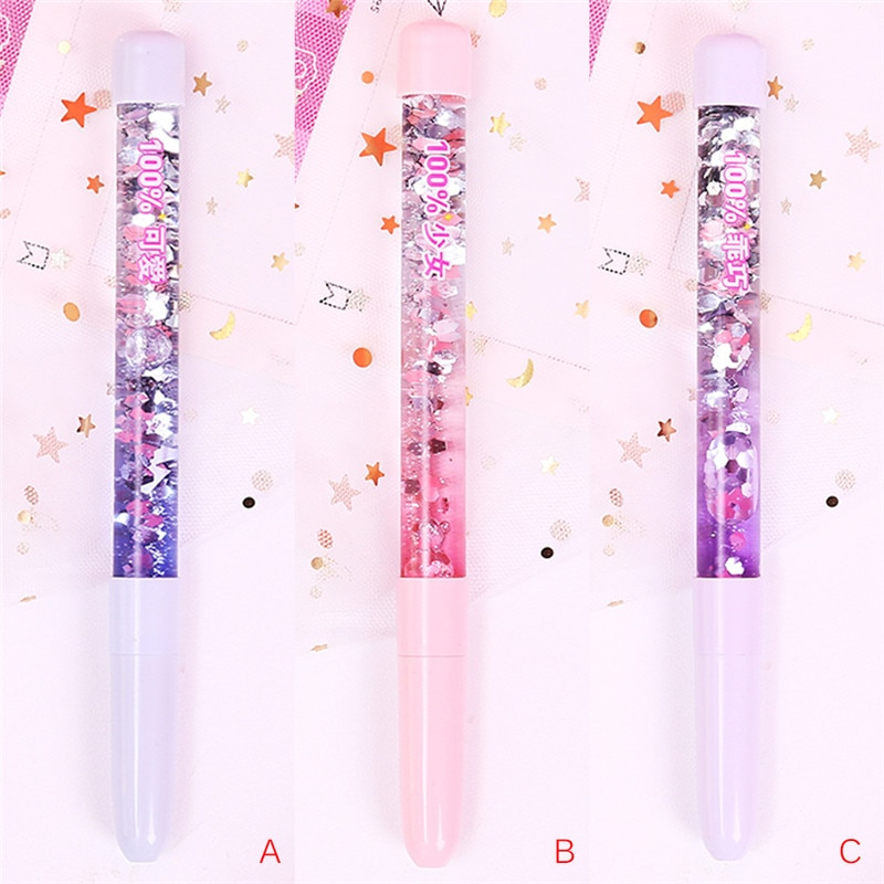 Office & School Supplies Rainbow Color Liquid Hourglass Ballpoint Pen With Lgiht Lovely Magic Crystal Sand Pen Plastic For Girl Student School Stationery