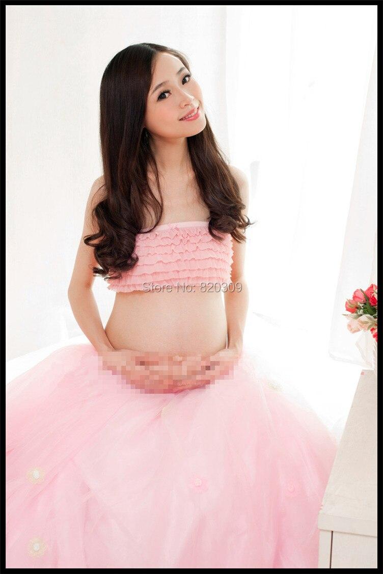 Maternidad rosa del vestido de bola de dos piezas del vestido ...