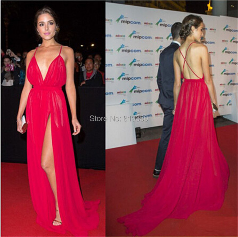 c9b3f890f2 Hot Sexy Red Prom Dresses Deep V Neck Criss Cross Back High Slit Side  Chiffon Wedding Party Gowns Cheap Celebrity Gowns
