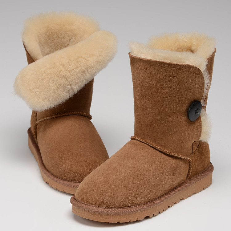 Top quality winter boots sheepskin genuine nature wool  boots for women Australia style  button genuine leather  snow boots 2016 australia genuine sheepskin leather