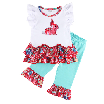 Kaiya Angel 2pcs Child Kids Easter Outfits O-neck Sleeveslees Girls Casual Sets Toddle Summer Clothes Set Factory Wholesale