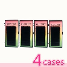 WSJTZJRY 4 cases,7~15mm MIX in one tray ,20rows/tray, mink eyelash extension,natural eyelashes,individual false