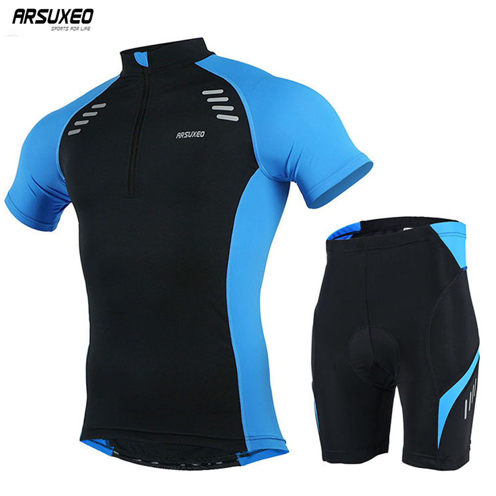ARSUXEO Men's Cycling Jersey Short Sleeves MTB Jersey Bike Bicycle Clothing  Shirts  Uniforms 6015
