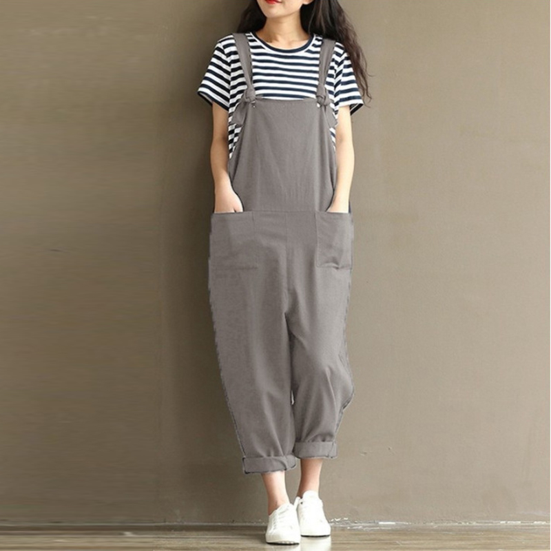 Womens Casual Loose Linen Cotton Jumpsuit Dungarees Playsuit Trousers Overalls