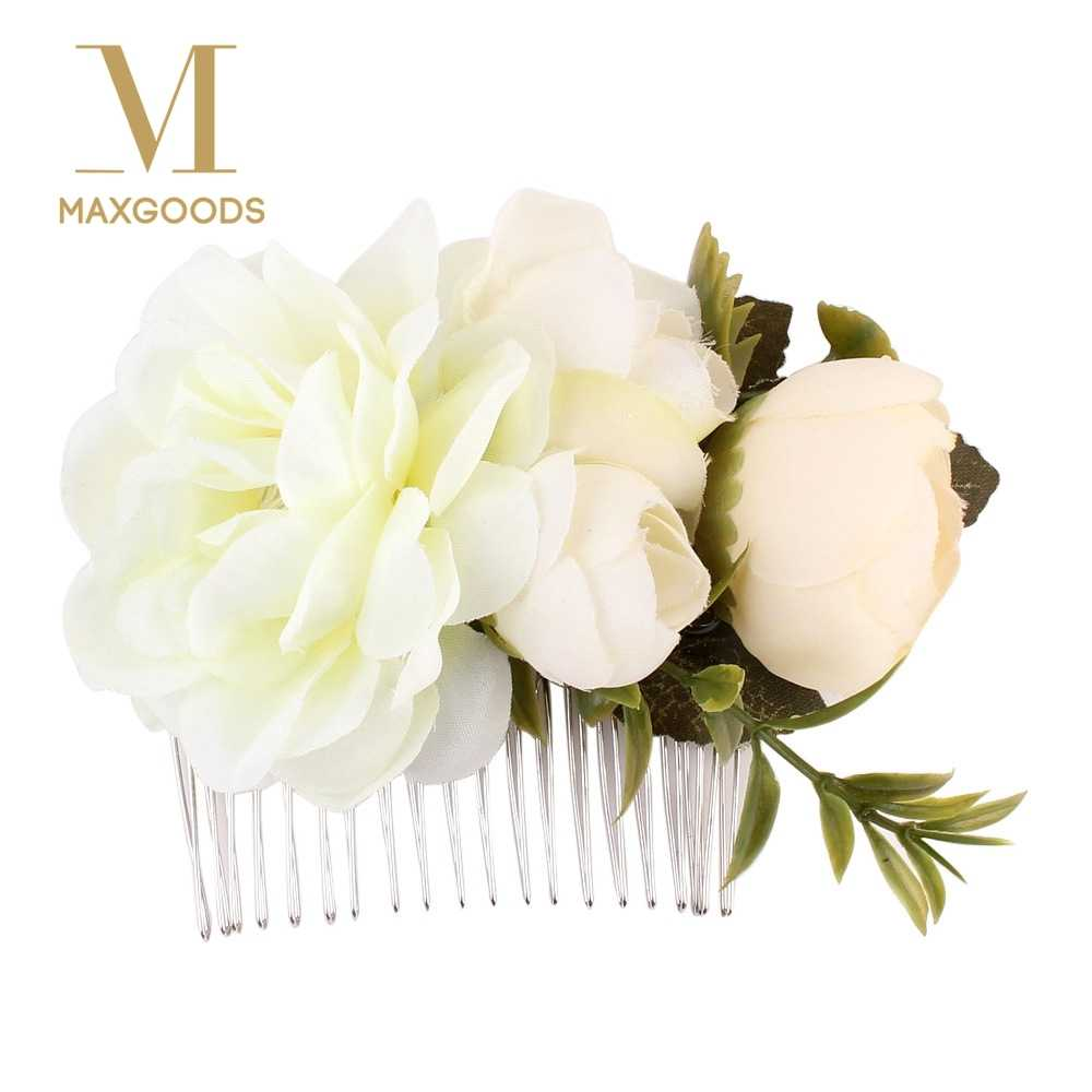 1 Pcs Rose Flower Hair Combs Wedding Crown Headwear Blooming Flower Headband for bride girls flower hair clip Wedding Jewelry
