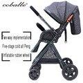 Coballe alta paisagem carrinho de bebê ultra-leve pode sentar e dobra two-way four-wheel choque bebê trolley frete grátis Russo