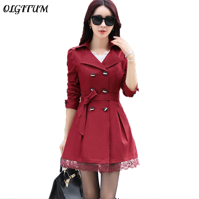 Female Trench Coat Spring Coat Double Breasted Lace Slim windbreaker Female Elegant Blend Outerwear long Cashmere Trench coat
