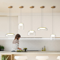 Moderne Transparante Glazen Led Hanglamp eetkamer Keuken Led Kroonluchters Warm licht 220 V Kabel verstelbare Thuis Opknoping Lamp-in Hanglampen van Licht & verlichting op