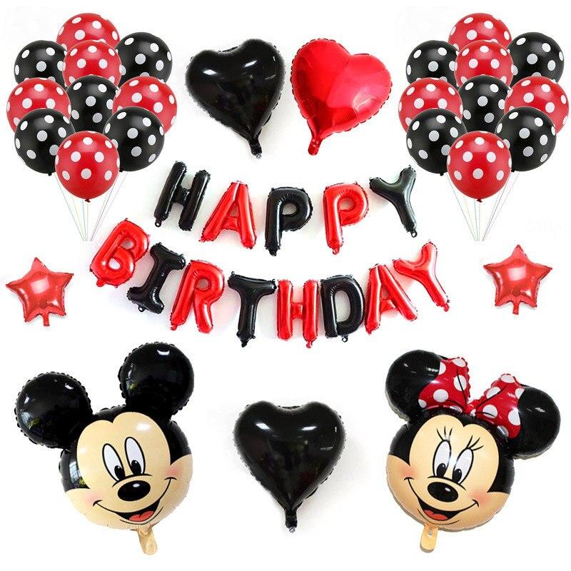 Kids Birthday RedBlack Balloons Mickey Minnie Aluminum Balloon Set Happy Birthday Party Wall Backdrops Decoration