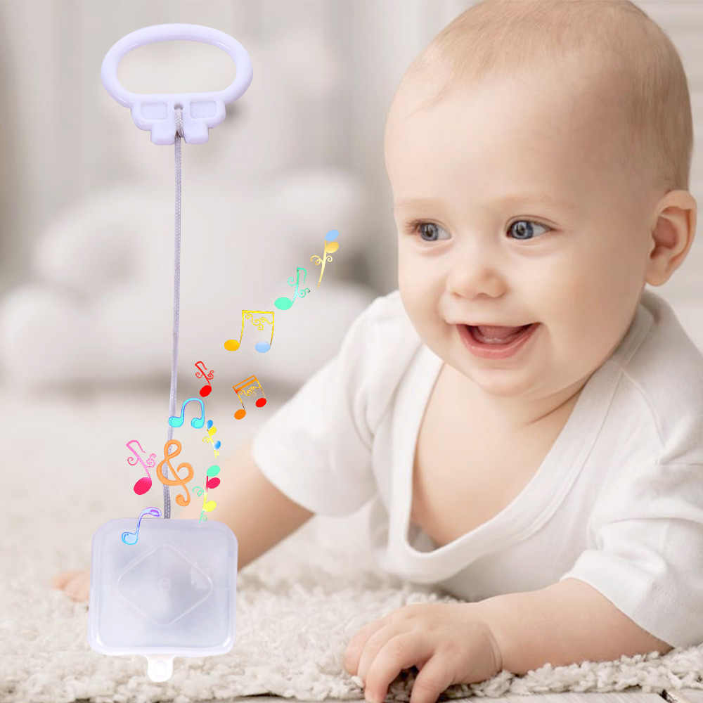 New Arrival White Baby Bed Bell Pull String Cord Music Box Kids Toy Random Songs Baby Rattles Music Box Gifts Home Decor
