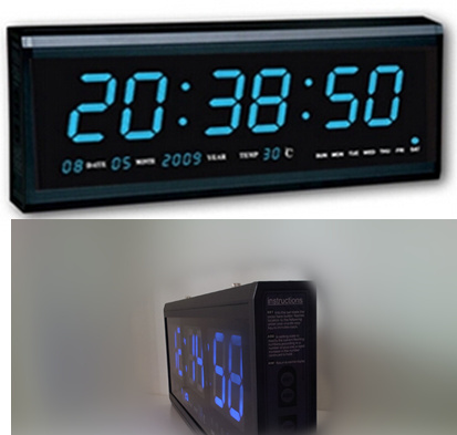 Aluminum Large Digital LED Wall Clock Modern Design Home Decor
