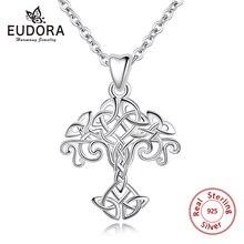 Eudora 100% 925 Sterling Silver drzewo życia naszyjnik wisiorek Celtics węzeł Choker kobiety Collar dla kobiet biżuteria prezent