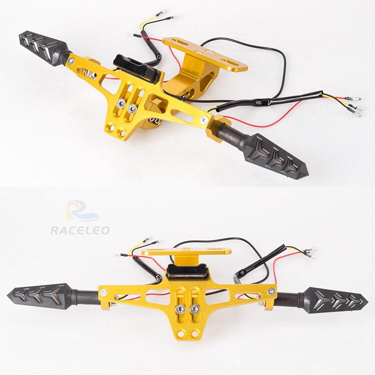 Universal CNC Motorcycle Adjustable Angle Aluminum License Plate Holder Frame Holder Bracket Plate Holder With Light