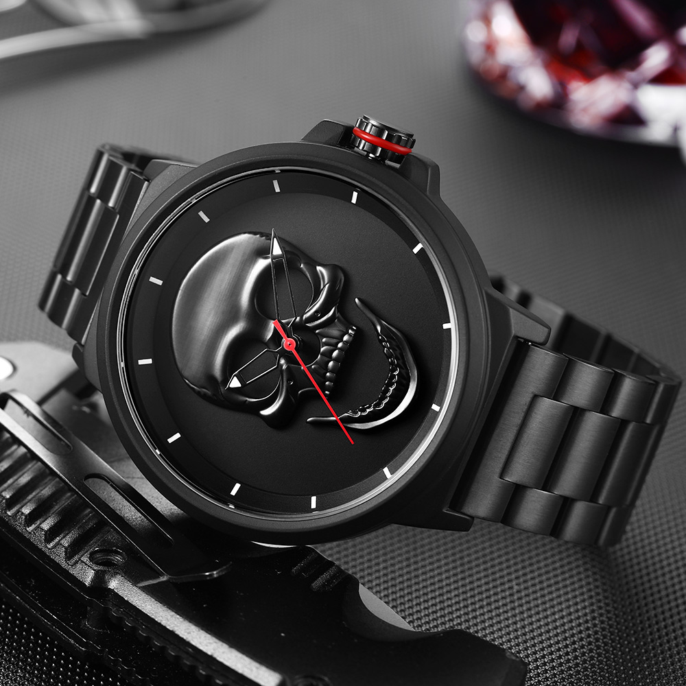 Black Skull Watches Men Luxury Brand Sports Quartz Military Steel Wrist Watch 30m Waterproof Men Clock Relogio Masculino 2018new