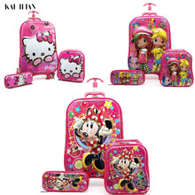 0267fc130 kids Travel suitcase on wheels 3D Anime stereo Student trolley case set  Cute boy girl cartoon