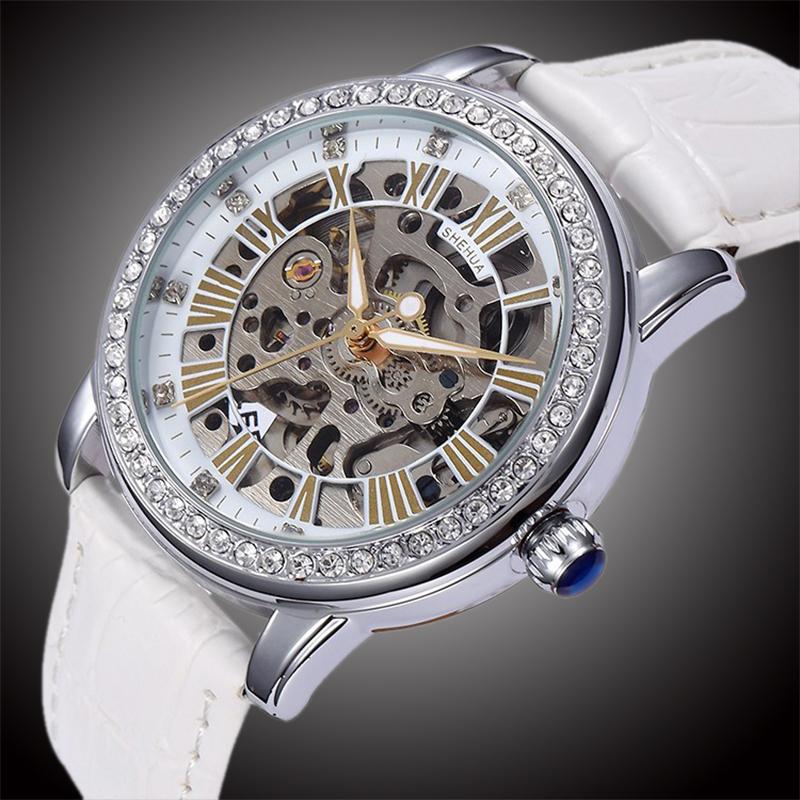 Prix pour Nouveau SHENHUA Montre-Bracelet Femmes Squelette Automatique Auto-Vent Montres pour femmes Strass Montres Mécaniques Cadeau de Fille W158001
