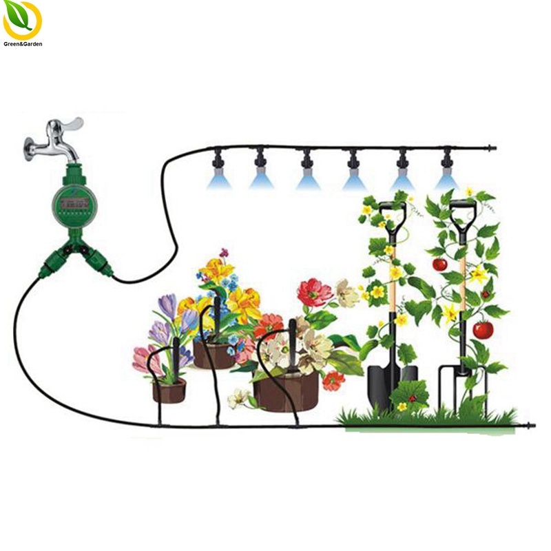 4/7mm 30m Timer Automatic Irrigation System Horticultural Irrigation System Drip Irrigation System Atomizer Watering Kits