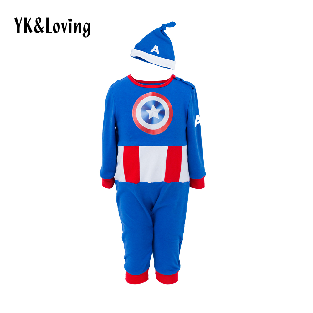 Child Romper Avengers Captain America Muscle Baby Boy&Girls Jumpsuit and Hat Clothing Cosplay Fancy Halloween Party Costumes