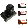 Inferior de cuero pu bolso de la cámara media caja para finepix fuji fujifilm xt1 xt-1 cámara café negro marrón de alta calidad