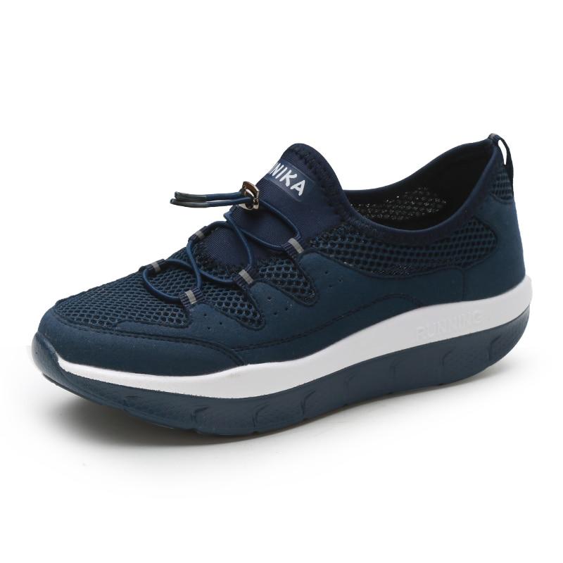 Selbstbewusst Gehemmt Unsicher Verlegen Frauen Atmungs Schlank Keile Turnschuhe Schuhe Frauen Plattform Schaukel Toning Schuhe Für Mutter Befangen