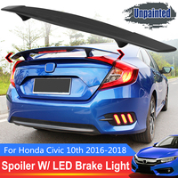 Rear Trunk Unpainted Black Spoiler Wing with Red LED Brake Light R Style Rear Trunk Lip For Honda for Civic 10th 2016 2018