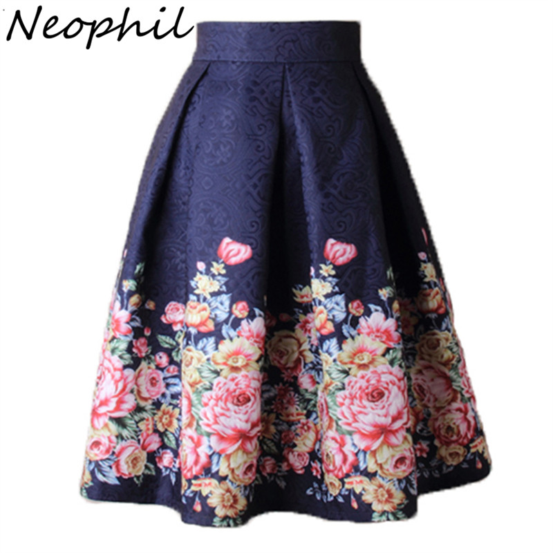 Neophil 2019 Ladies  Jacquard Flower Print Pleated Ball Gown Skater Midi Skirts Womens Vintage Floral High Waist Saias S1532
