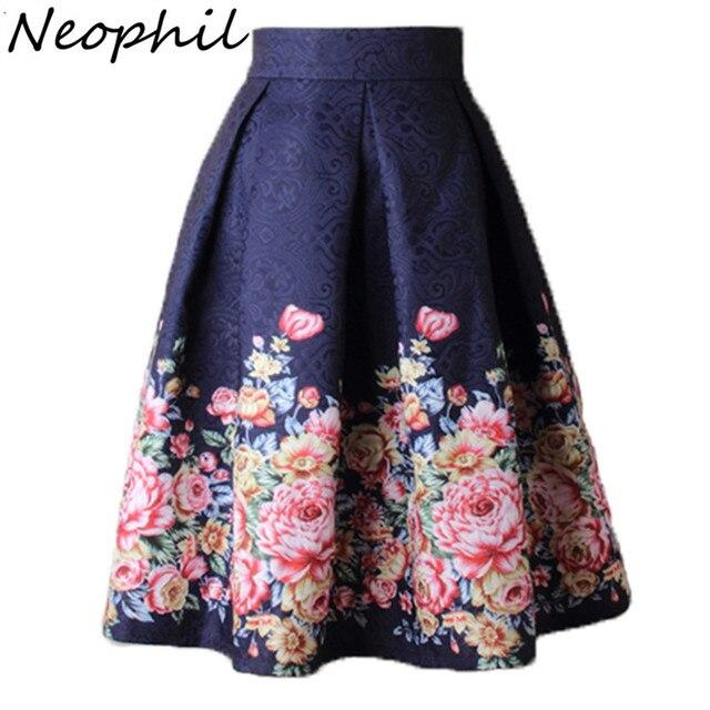 1ecf670fd0 Neophil 2019 Ladies Jacquard Flower Print Pleated Ball Gown Skater Midi  Skirts Womens Vintage Floral High Waist Saias S1532