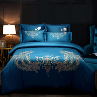 Luxury 60S Egypt Cotton Peacock Feathers Bedding Set Embroidery Duvet cover set Bed Sheet Pillowcases Queen King size 4Pcs